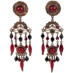 Henry Perichon Copper Jeweled Dangle Clip Earrings