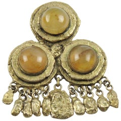 Henry Perichon Gilt Bronze Dangle Pin Brooch
