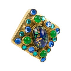 Henry Perichon Gilt Bronze Medieval Pin Brooch with Blue Green Cabochons