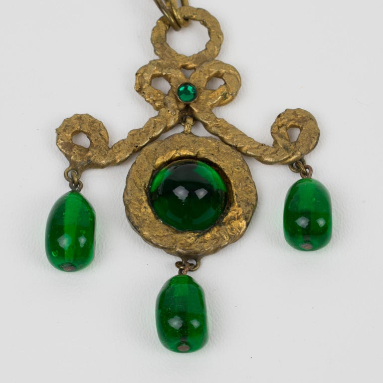 Henry Perichon Gilt Bronze Necklace with Green Poured Glass Beads For Sale 5