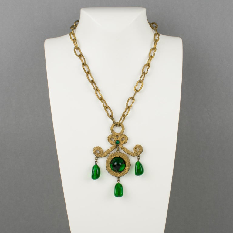 Medieval Henry Perichon Gilt Bronze Necklace with Green Poured Glass Beads For Sale