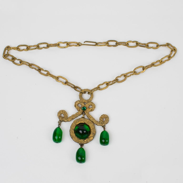 Henry Perichon Gilt Bronze Necklace with Green Poured Glass Beads In Good Condition For Sale In Atlanta, GA