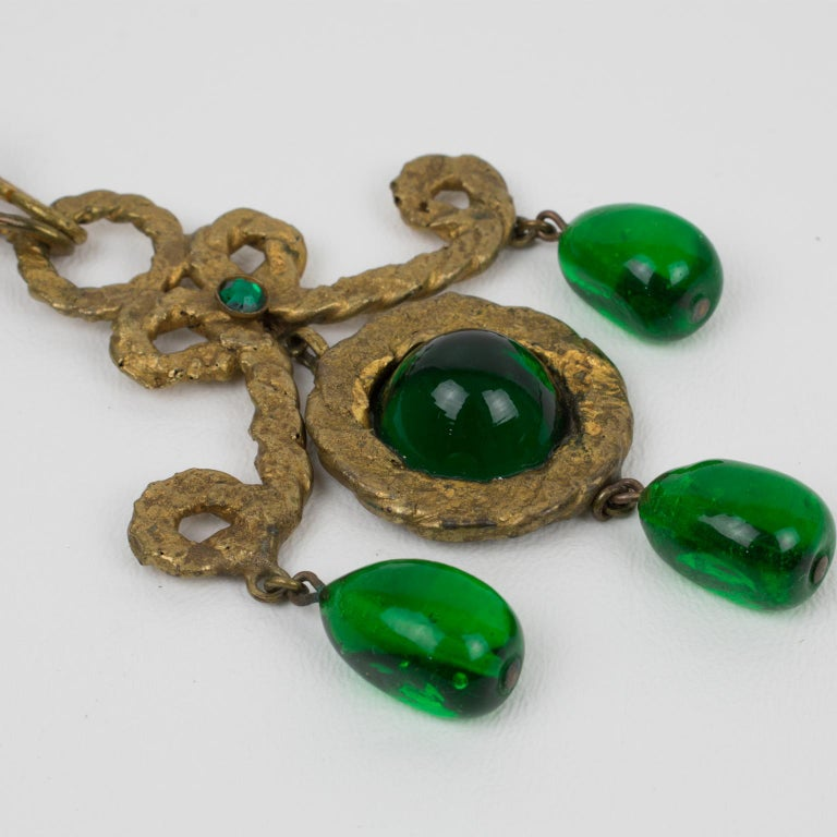 Women's or Men's Henry Perichon Gilt Bronze Necklace with Green Poured Glass Beads For Sale
