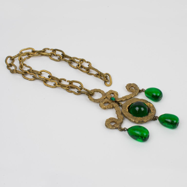 Henry Perichon Gilt Bronze Necklace with Green Poured Glass Beads For Sale 1