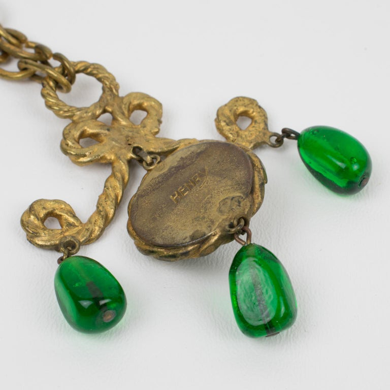 Henry Perichon Gilt Bronze Necklace with Green Poured Glass Beads For Sale 2