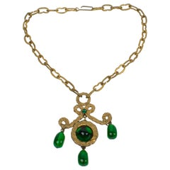 Henry Perichon Gilt Bronze Necklace with Green Poured Glass Beads