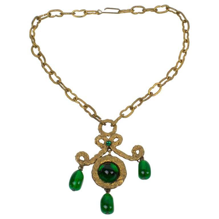 Henry Perichon Gilt Bronze Necklace with Green Poured Glass Beads For Sale