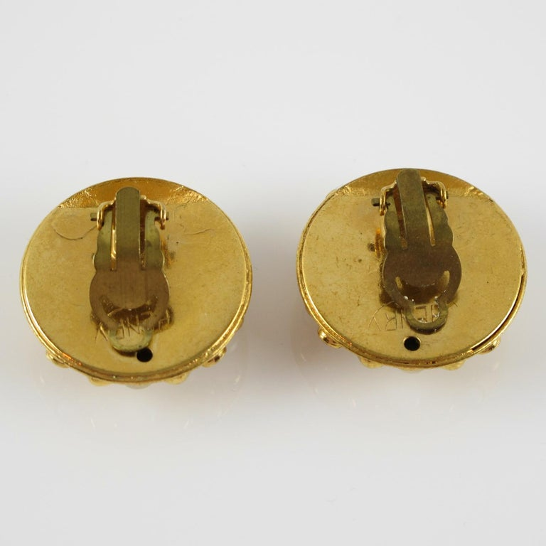 Women's Henry Perichon Gilt Metal Jeweled Clip Earrings For Sale