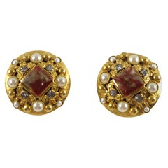Henry Perichon Gilt Metal Jeweled Clip Earrings