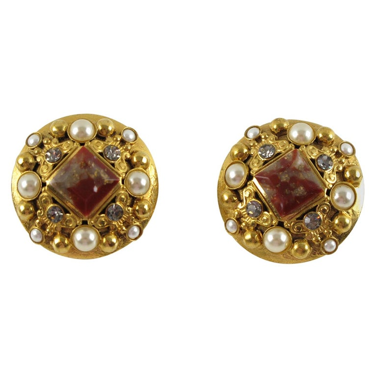 Henry Perichon Gilt Metal Jeweled Clip Earrings For Sale