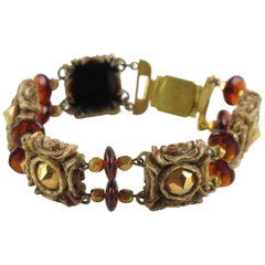 Henry Perichon Talosel Resin Link Bracelet with Glass Beads