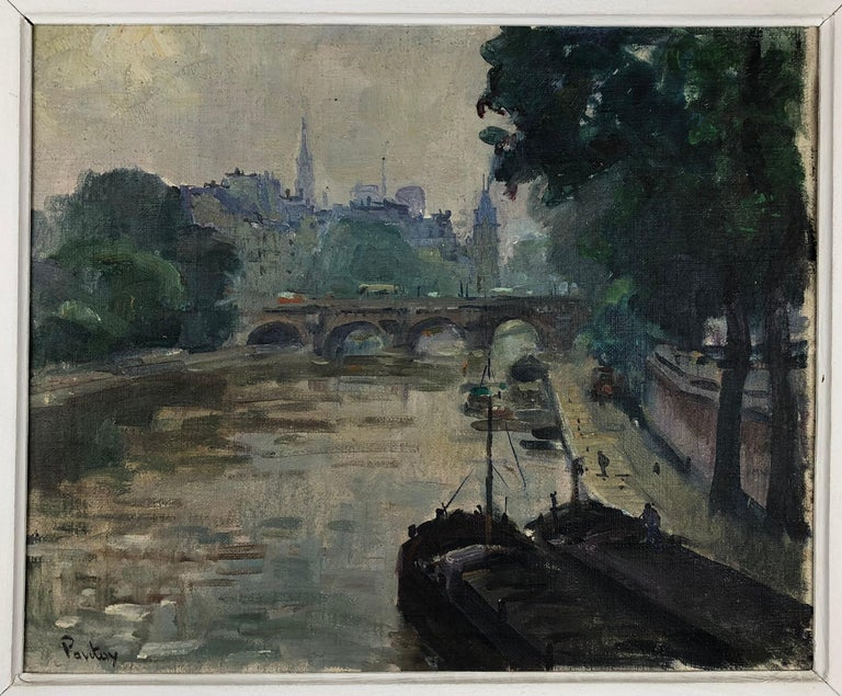 Henri-Jean Pontoy (1888-1968). Paris, France on the borders of the Seine.   Better known for his orientalist works, those of Paris are very rare. This striking painting is titled on the back