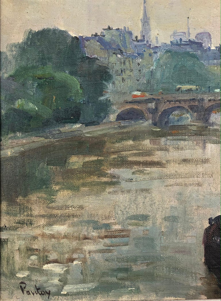 French Henri Pontoy Rare Original Oil on Canvas Painting Scene in Paris France For Sale