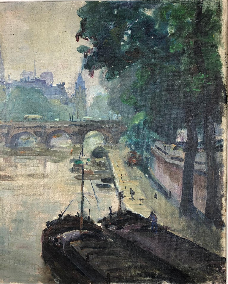 Henri Pontoy Rare Original Oil on Canvas Painting Scene in Paris France In Good Condition For Sale In Arles, FR