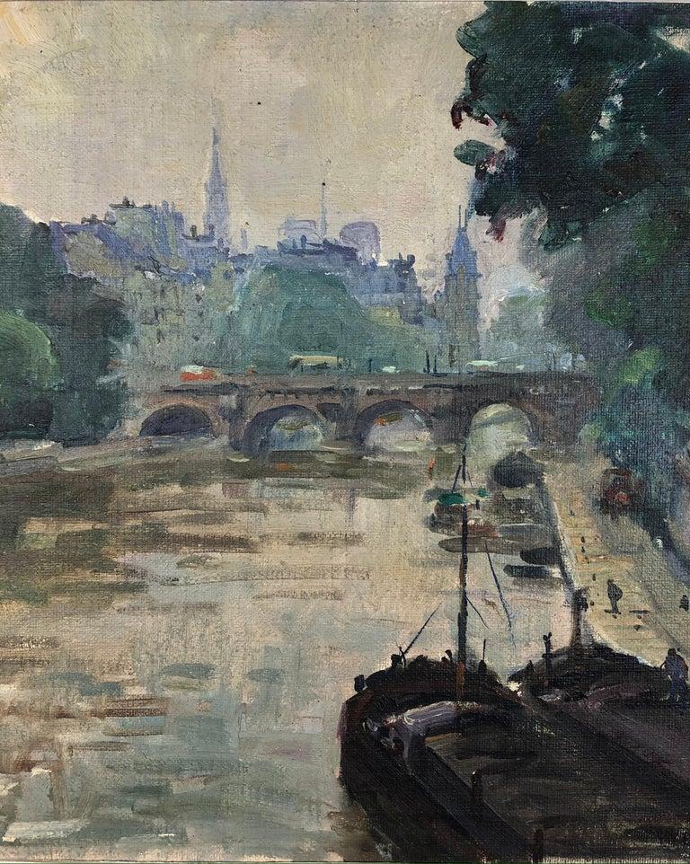 20th Century Henri Pontoy Rare Original Oil on Canvas Painting Scene in Paris France For Sale