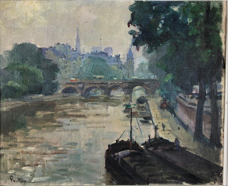 Henri Pontoy Rare Original Oil on Canvas Painting Scene in Paris France For Sale 1