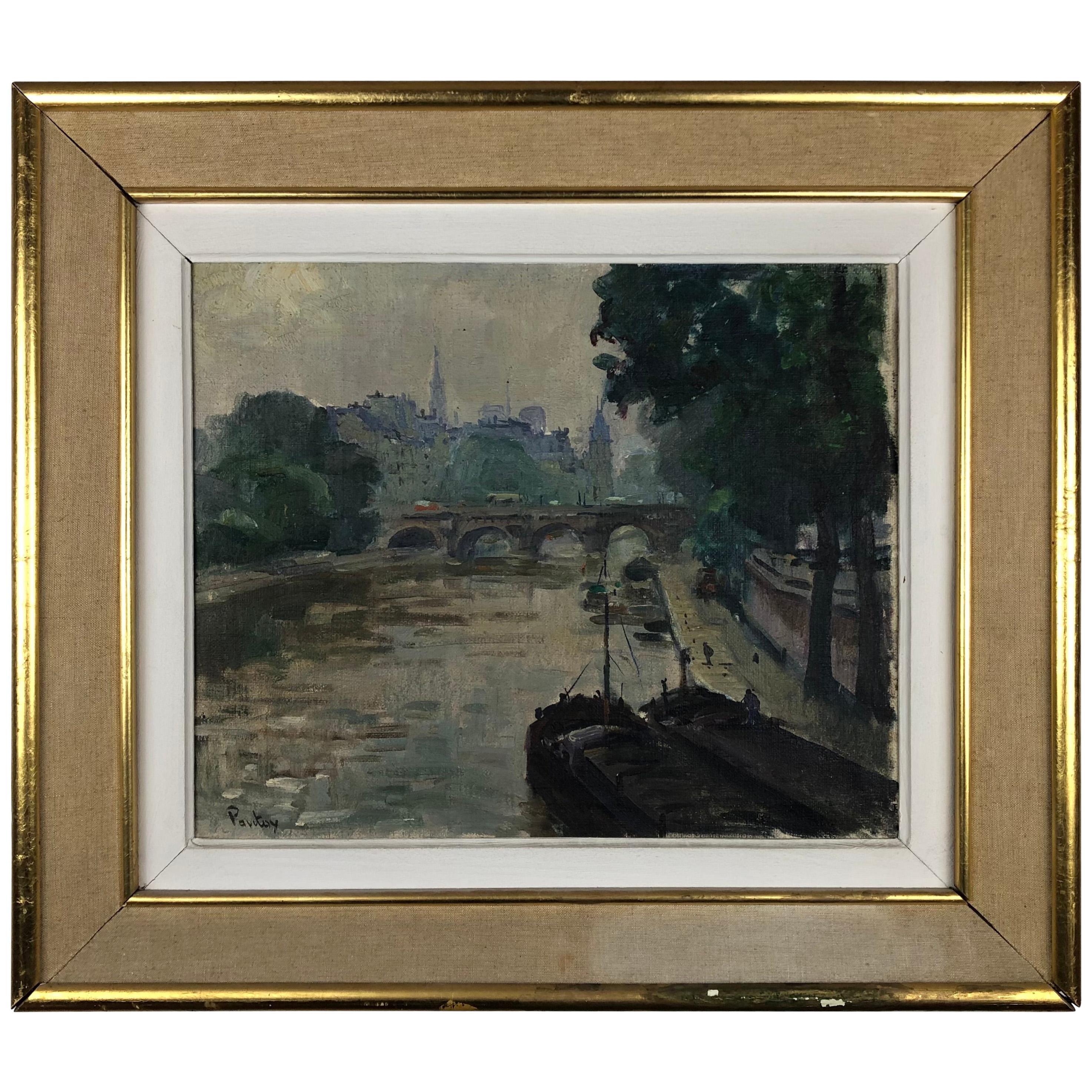 Collectible Henri Pontoy Rare Original Oil on Canvas Painting Scene Paris France