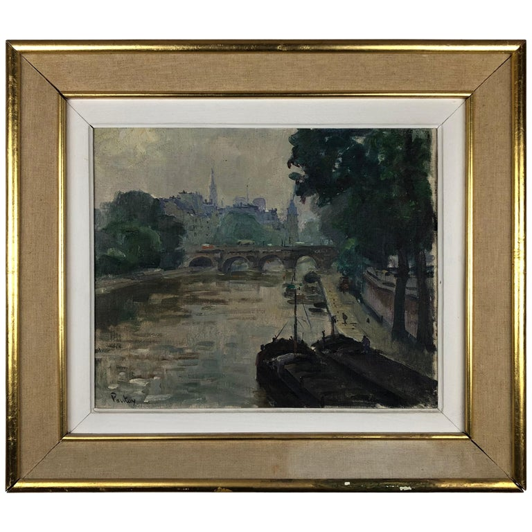 Henri Pontoy Rare Original Oil on Canvas Painting Scene in Paris France For Sale