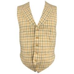HENRY POOLE & CO Size 40 Beige & Black Window Pane Wool Notch Lapel Vest