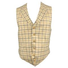 HENRY POOLE & CO Size 40 Beige & Blue Window Pane Wool Notch Lapel Vest