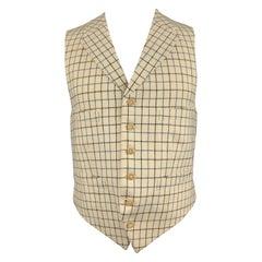 HENRY POOLE & CO Size 40 Beige & Navy Window Pane Wool Notch Lapel Vest