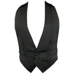 HENRY POOLE & CO Size 40 Black Solid Silk Tuxedo Vest