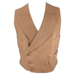 HENRY POOLE & CO Size 40 Brown Wool Double Breasted Vest