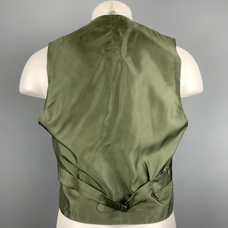 Black HENRY POOLE & CO Size 40 Forest Green Wool Double Breasted Vest