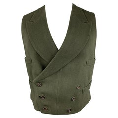 HENRY POOLE & CO Size 40 Forest Green Wool Double Breasted Vest