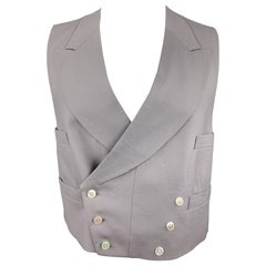 HENRY POOLE & CO Size 40 Gray Wool Double Breasted Vest
