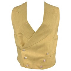 HENRY POOLE & CO Size 40 Khaki Solid Linen Double Breasted Vest