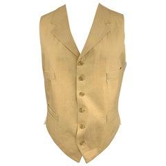 HENRY POOLE & CO Size 40 Khaki Solid Linen Notch Lapel Vest