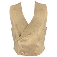 HENRY POOLE & CO Size 40 Khaki Woven Linen Double Breasted Vest