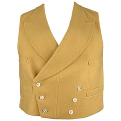 HENRY POOLE & CO Size 40 Mustard Wool Double Breasted Vest