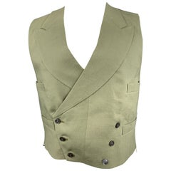 HENRY POOLE & CO Size 40 Olive Linen Double Breasted Vest