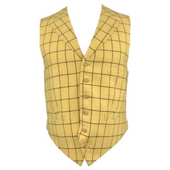 HENRY POOLE & CO Size 40 Yellow Window Pane Wool Notch Lapel Vest
