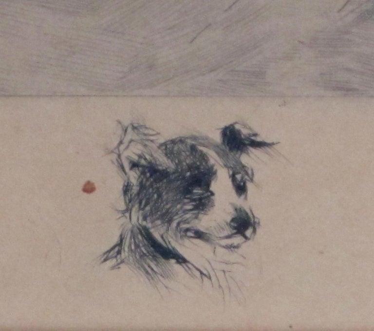 19th Century Henry Pruett Share Etching of Wintry Pastoral Scene; Signed R. Legrande Johnston For Sale