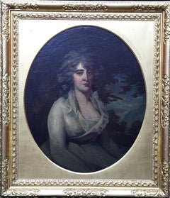 Portrait of a Seated Lady in a White Dress - British Old Master art oil painting
