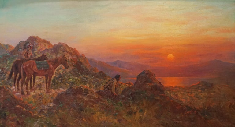 Antique Western American Indian Lookout at Sunset - Painting by Henry Raschen