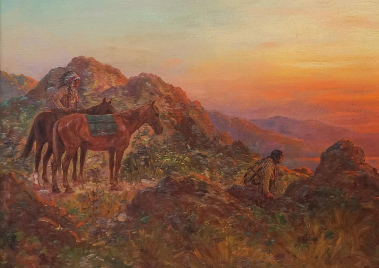 Antique Western American Indian Lookout at Sunset - Hudson River School Painting by Henry Raschen