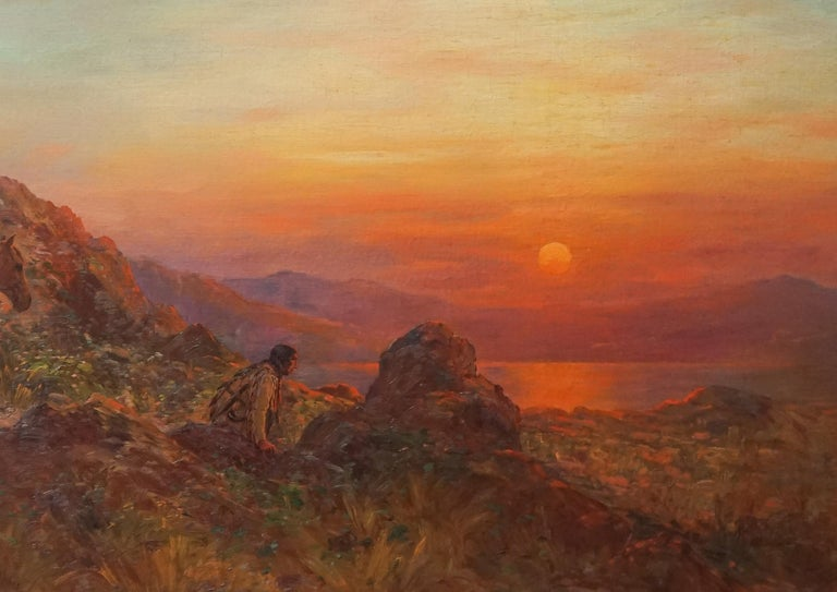 Antique Western American Indian Lookout at Sunset - Brown Figurative Painting by Henry Raschen