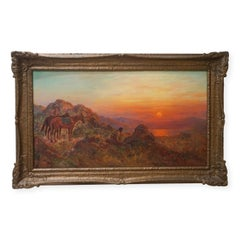 Antique Western American Indian Lookout at Sunset