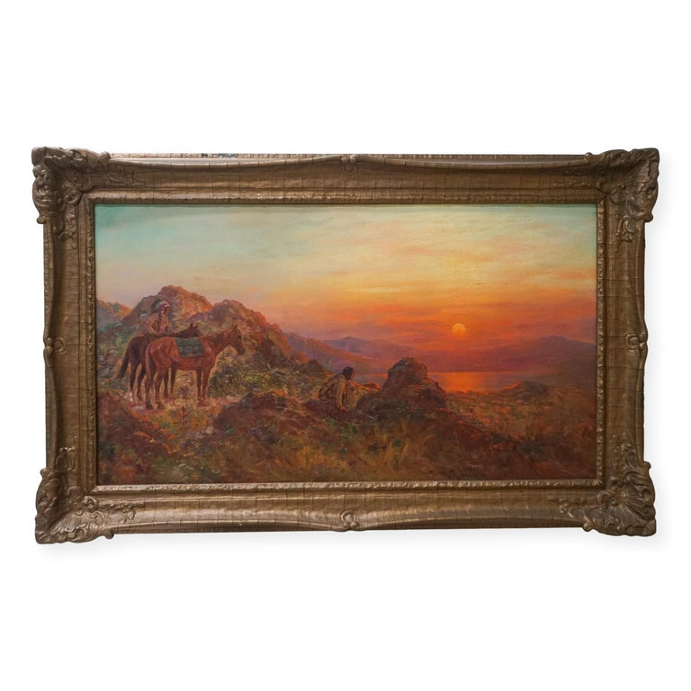 Henry Raschen Figurative Painting - Antique Western American Indian Lookout at Sunset