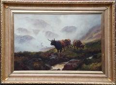 Ben Lomond Scotland Cattle in Mist - British 19thC art landscape oil painting