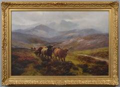 19th Century Scottish landscape animal oil painting of highland cattle