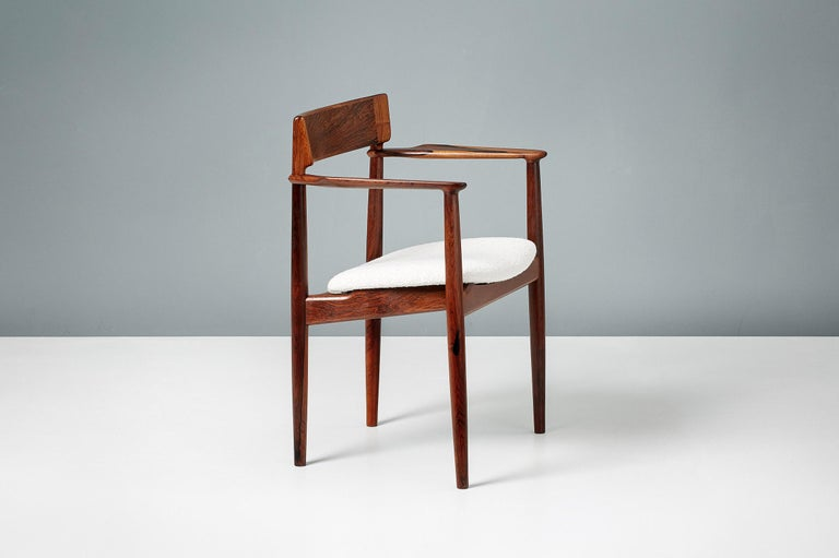 Scandinavian Modern Henry Rosengren Hansen Rosewood and Boucle Armchair, 1960 For Sale