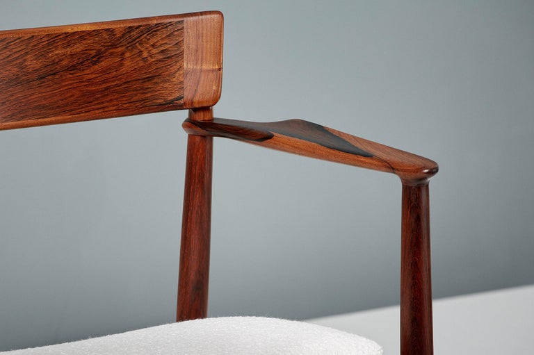 Danish Henry Rosengren Hansen Rosewood and Boucle Armchair, 1960 For Sale
