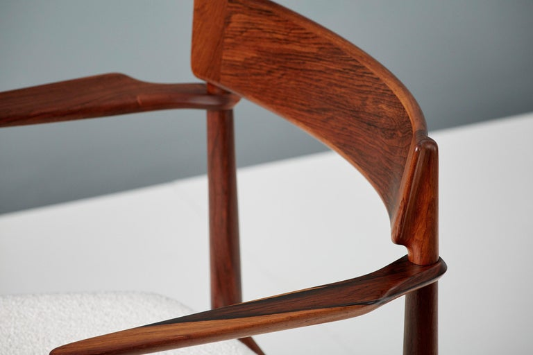 Henry Rosengren Hansen Rosewood and Boucle Armchair, 1960 In Excellent Condition For Sale In London, GB