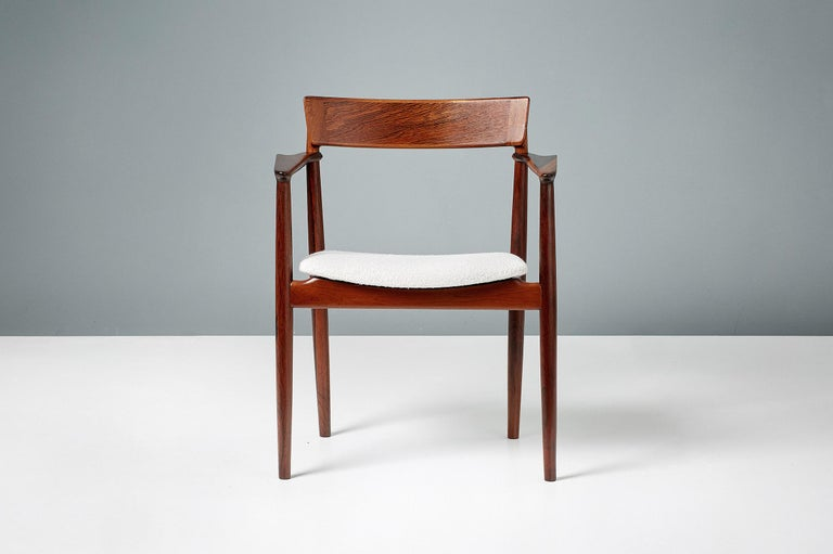 Mid-20th Century Henry Rosengren Hansen Rosewood and Boucle Armchair, 1960 For Sale