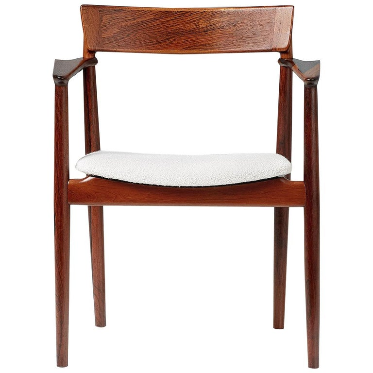 Henry Rosengren Hansen Rosewood and Boucle Armchair, 1960 For Sale